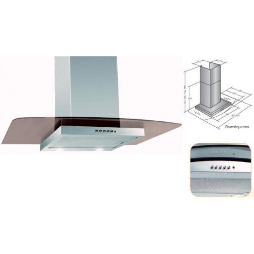 Cata Empire KD 310060 Digestoř komínová 60cm, nerez/tónované sklo, 297m3/hod