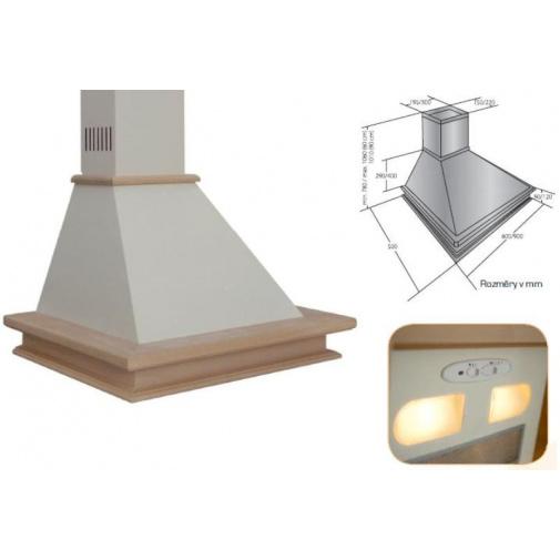 Cata Empire KD 303090 + AKCE%, Digestoř komínová rustikální 90cm, nemořená buková lišta