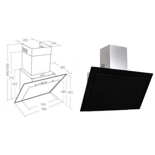 Cata Empire VIP KD 526090 + Dárek%, Digestoř komínová 90cm, nerez/černé sklo + Dálkové ovládání