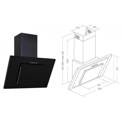 Cata Empire KD 330060, Digestoř komínová šikmá 60cm, černá / černé sklo, 204m3/hod