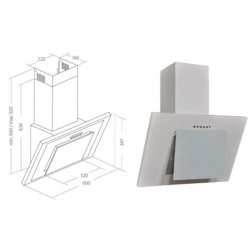 Cata Empire KD 329060 + AKCE, Digestoř komínová šikmá 60cm, bílá/bílé sklo, 207m3/hod