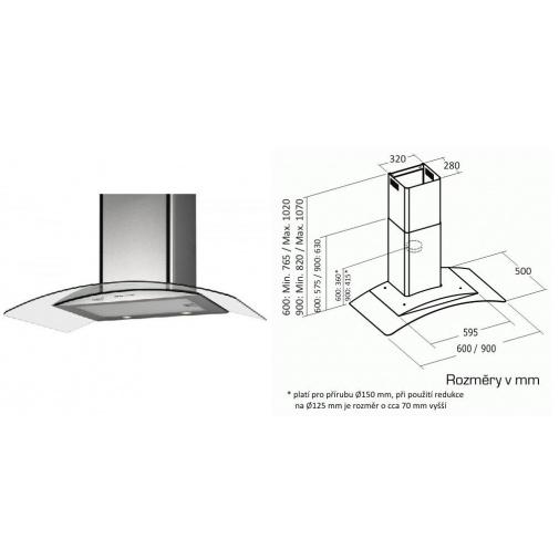 Cata Gamma Glass VL3 600 Nerez + AKCE, Digestoř komínová 60cm, nerez/čiré sklo