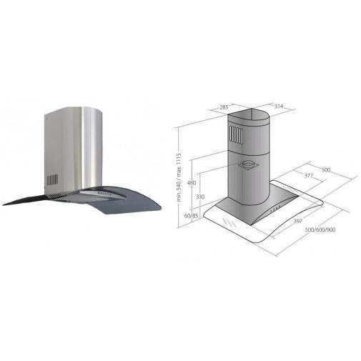 Cata Empire KD 307050 + Dárek%, Digestoř komínová 50cm, nerez/tónované sklo, 405m3/hod