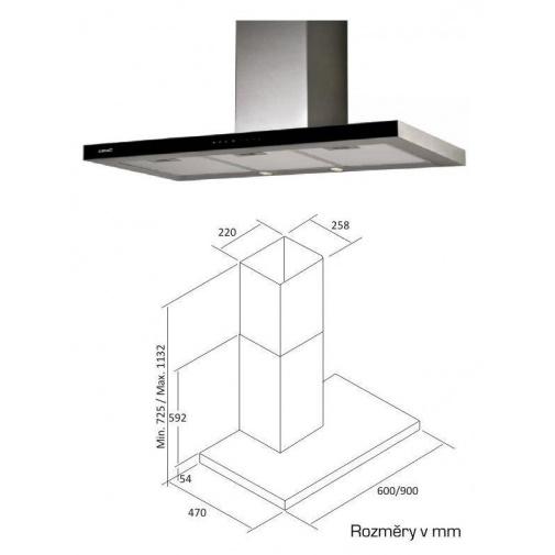 Cata Midas Glass TC3V 900 Nerez + VIP Sleva, Digestoř komínová 90cm, nerez/černé sklo