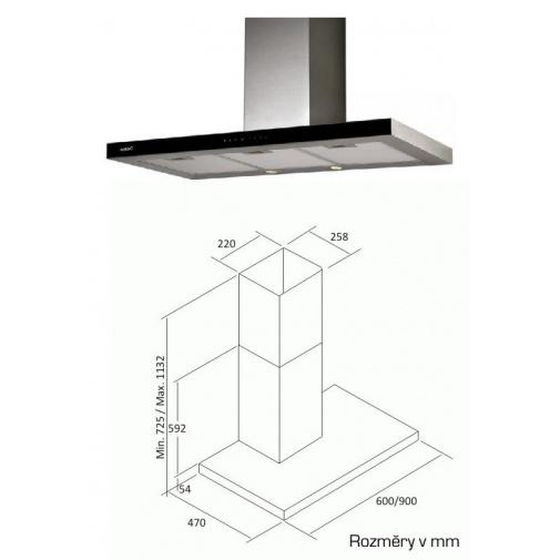 Cata Midas Glass TC3V 600 + Dárek%, Digestoř komínová 60cm, nerez/černé sklo, 400m3/hod