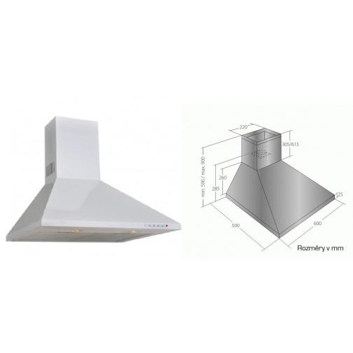 Cata Empire KD 317060 bílá, Digestoř komínová 60cm, 405m3/hod