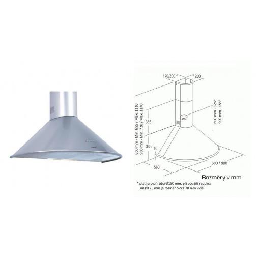 Cata Q 600 nerez + Dárek%, Digestoř komínová nerez 60cm, 645m3/hod