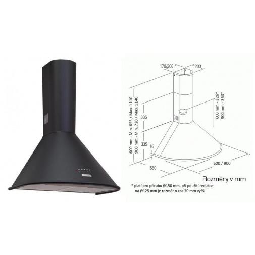 Cata Q 600 Černá + DÁREK, Digestoř komínová 60cm, 645m3/hod