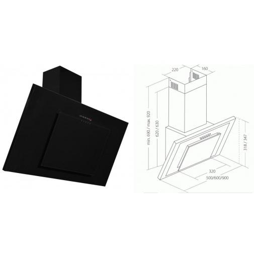 Cata Empire KD 330090 Komínová digestoř šikmá 90cm, černá / černé sklo, 405m3/hod
