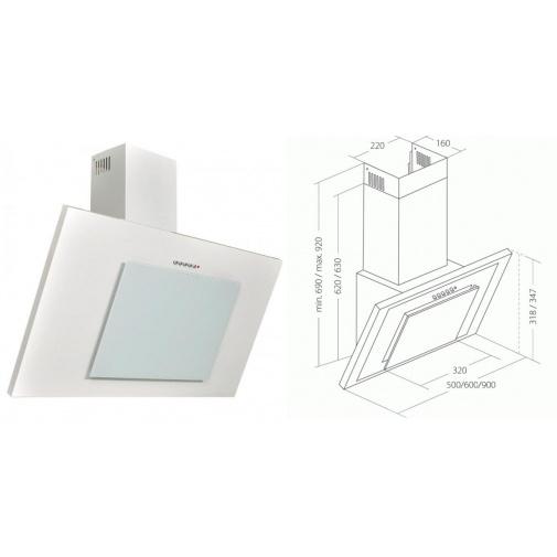 Cata Empire KD 329090 + Dárek%, Digestoř komínová šikmá 90cm, bílá/bílé sklo, 297m3/hod