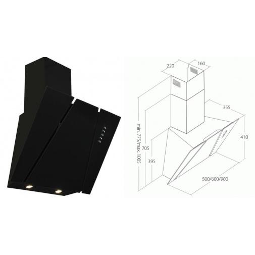 Cata Empire KD 332060 + AKCE, Digestoř komínová 60cm černé sklo