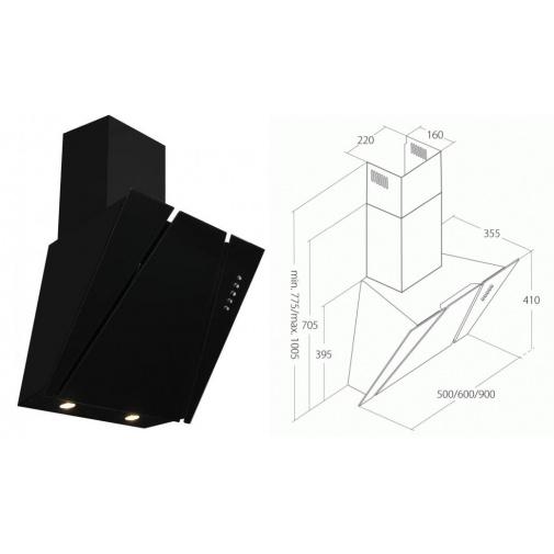 Cata Empire KD 332050 + AKCE, Digestoř komínová šikmá 50cm, černá/černé sklo, 297m3/hod