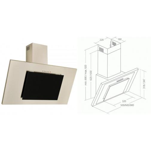 Cata Empire KD 331090 + AKCE, Digestoř komínová šikmá 90cm, nerez/černé sklo, 297m3/hod