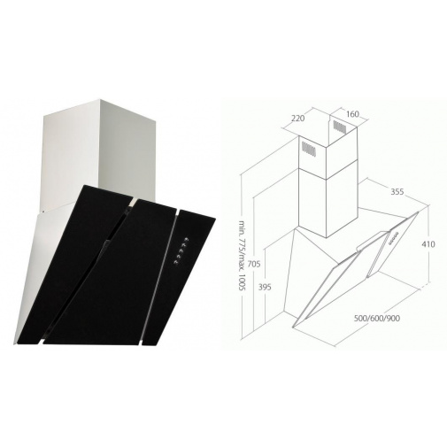 Cata Empire KD 333060 + AKCE, Digestoř komínová 60cm, nerez/černé sklo, 297m3/hod