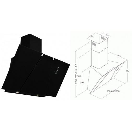 Cata Empire KD 332090 + AKCE, Digestoř komínová šikmá 90cm, černá/černé sklo, 297m3/hod