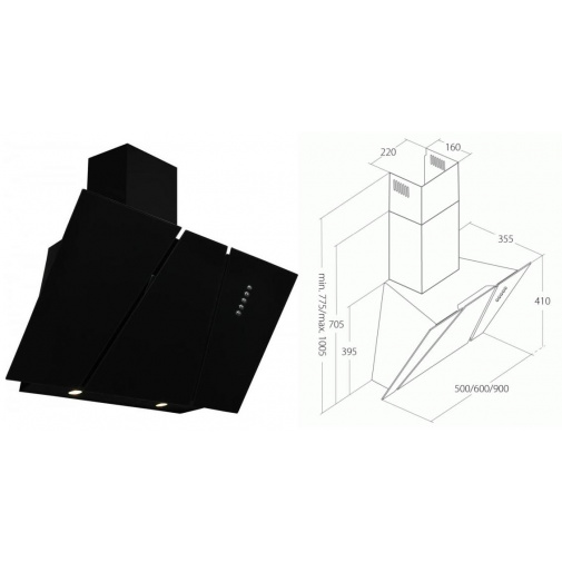 Cata Empire KD 332090 + Dárek%, Digestoř komínová šikmá 90cm, černá/černé sklo, 297m3/hod