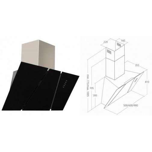 Cata Empire KD 333090 + Dárek, Komínová digestoř šikmá 90cm, nerez/černé sklo