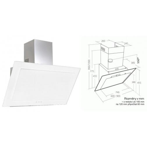 Cata Empire VIP KD 536090 + AKCE%, Komínová digestoř šikmá 90cm, nerez/bílé sklo