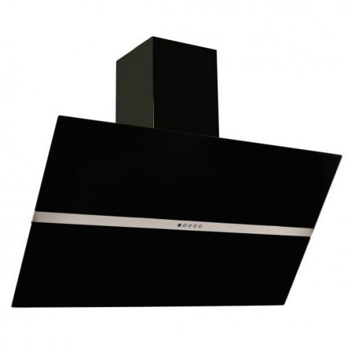 Cata Empire KDp 349090 + Dárek%, Komínová digestoř šikmá 90cm, černá/černé sklo, 405m3/hod