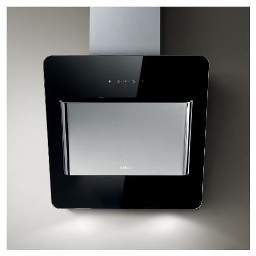 Elica Belt BL/A/55 LUX + AKCE, Digestoř komínová šikmá, černé sklo/nerez, 55cm + Záruka 5 LET