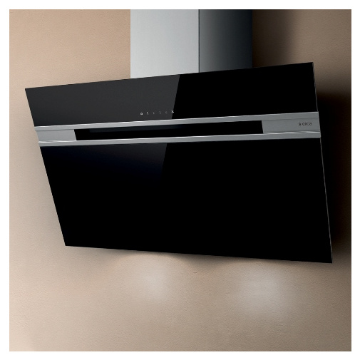 Elica Stripe Lux BL/A/90 + AKCE, Digestoř komínová šikmá 90cm, černé sklo