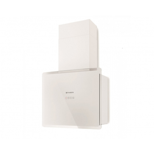 Faber GLAM-FIT WH A55 + AKCE, Digestoř komínová šikmá 55cm, bílá/bílé sklo, 570m3/hod