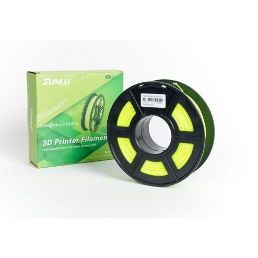Sunlu Noctilucent Yellow 0101 - Svítící žlutá Printer Filament PLA 1,75mm, 1kg Tisková struna pro 3D tiskárny
