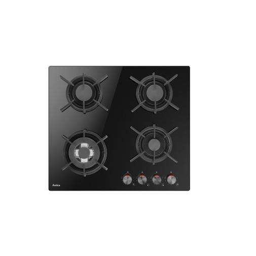 Amica DP 6411 LZBG + AKCE, Plynová varná deska černá na skle, 60cm, WOK, litinové rošty