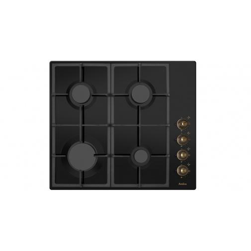 Amica DRP 6411 ZBB černá + AKCE, Varná deska plynová retro 60cm, litinové rošty, antracitová
