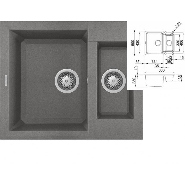 ELLECI EASY 150 G48 Cemento Granitový jednodřez s vaničkou + DÁREK a záruka 10 LET