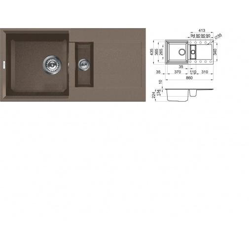 ELLECI EASY 425 G43 Tortora Granitový dřez s vaničkou béžový, záruka 10 LET