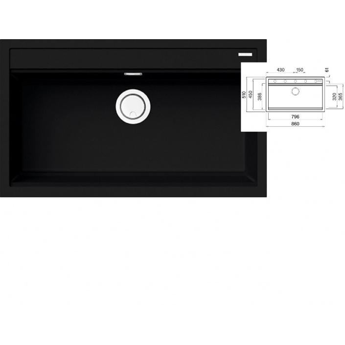 ELLECI BEST 360 K86 Black Keratek Granitový široký jednodřez + DÁREK a záruka 20 LET