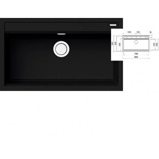 ELLECI BEST 360 K86 Black Keratek + DÁREK, Granitový široký jednodřez černý