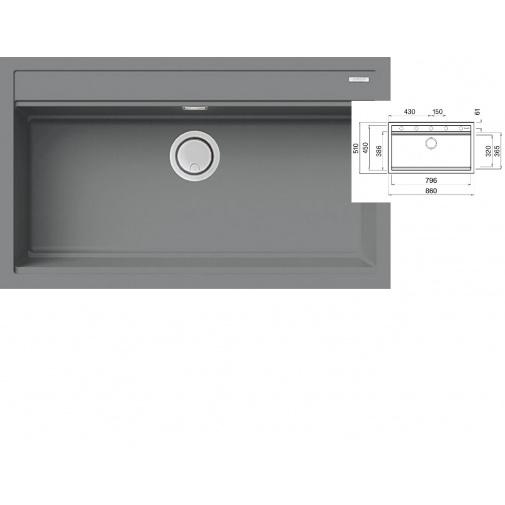 ELLECI BEST 360 K97 Light grey Keratek + DÁREK, Granitový široký jednodřez