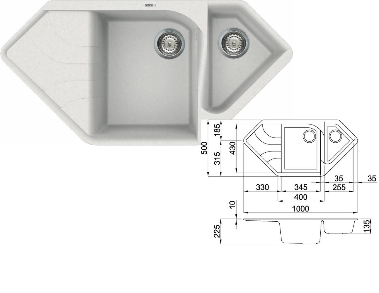 Elleci Ego Corner G68 Bianco Titano Granitový Rohový Dřez Dárek A Záruka 10 Let