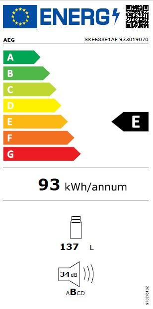 Obrázek galerie pro produkt AEG SKE688E1AF Vestavná chladnička statická