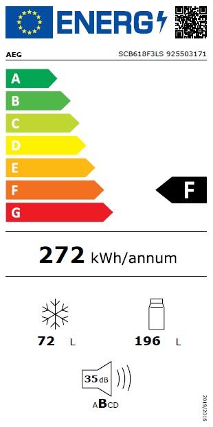 Obrázek galerie pro produkt AEG SCB618F3LS Vestavná chladnička kombinovaná s mrazákem dole