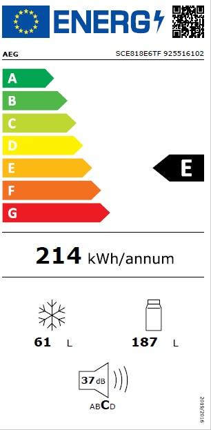 Obrázek galerie pro produkt AEG SCE818E6TF Vestavná chladnička kombinovaná s mrazákem dole NoFrost