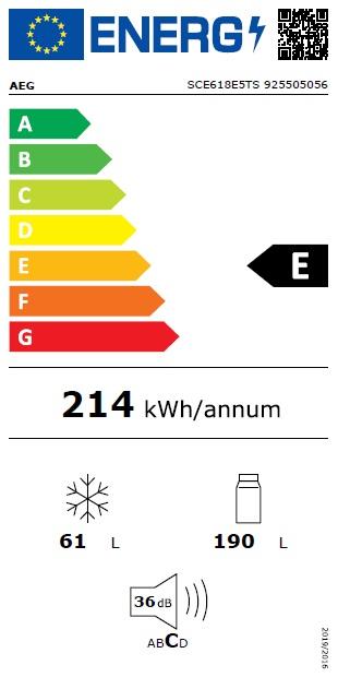 Obrázek galerie pro produkt AEG SCE618E5TS Vestavná lednice kombinovaná s mrazákem dole Customflex