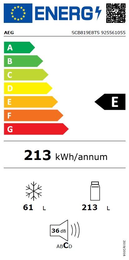 Obrázek galerie pro produkt AEG SCB819E8TS Vestavná chladnička kombinovaná s mrazákem dole NOFROST
