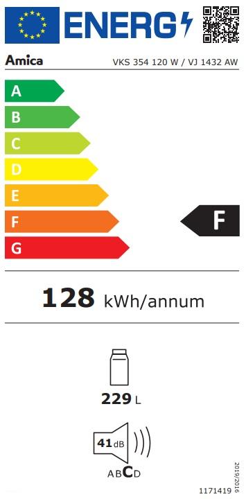 Obrázek galerie pro produkt Amica VJ 1432 AW Jednodveřová monoklimatická chladnička 143cm