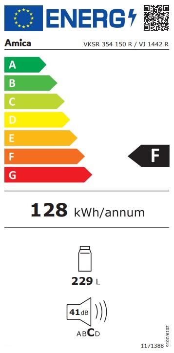 Obrázek galerie pro produkt Amica VJ 1442 R červená RETRO jednodveřová lednice 144cm