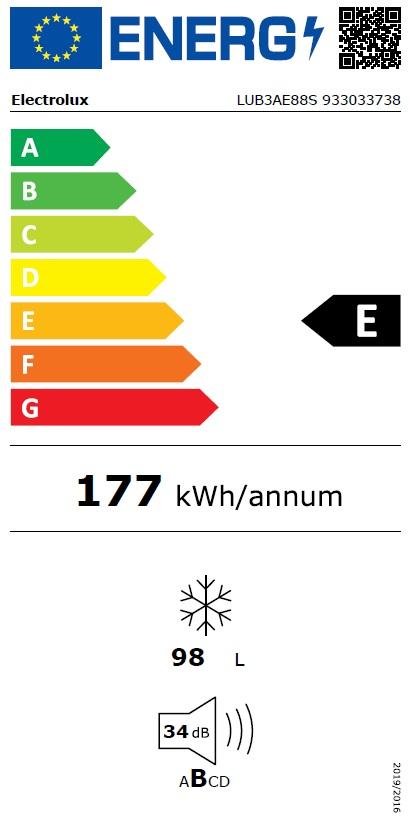 Obrázek galerie pro produkt Electrolux LUB3AE88S Vestavná šuplíková mraznička LowFrost, 87cm
