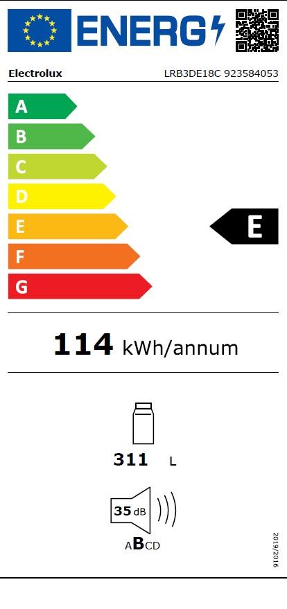 Obrázek galerie pro produkt Electrolux LRB3DE18C Vestavná chladnička monoklimatická DynamicAir, 177cm