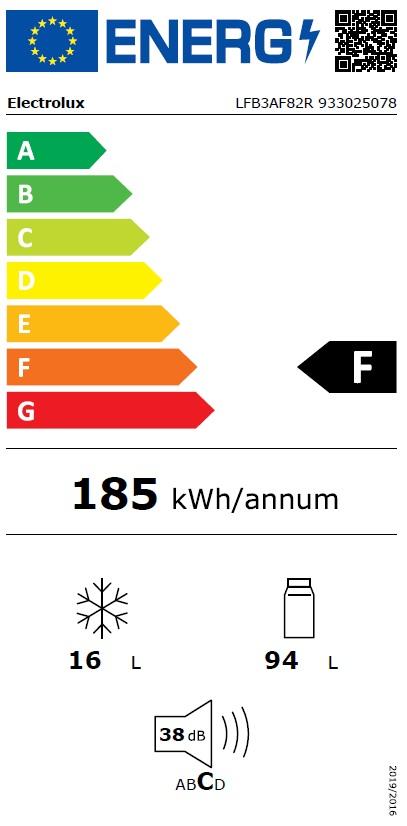 Obrázek galerie pro produkt Electrolux LFB3AF82R Vestavná chladnička s mrazící přihrádkou, 82cm