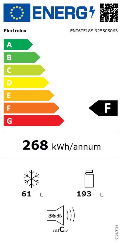 Obrázek galerie pro produkt Electrolux ENT6TF18S Vestavná chladnička kombinovaná s mrazákem dole série 600 PRO NoFrost