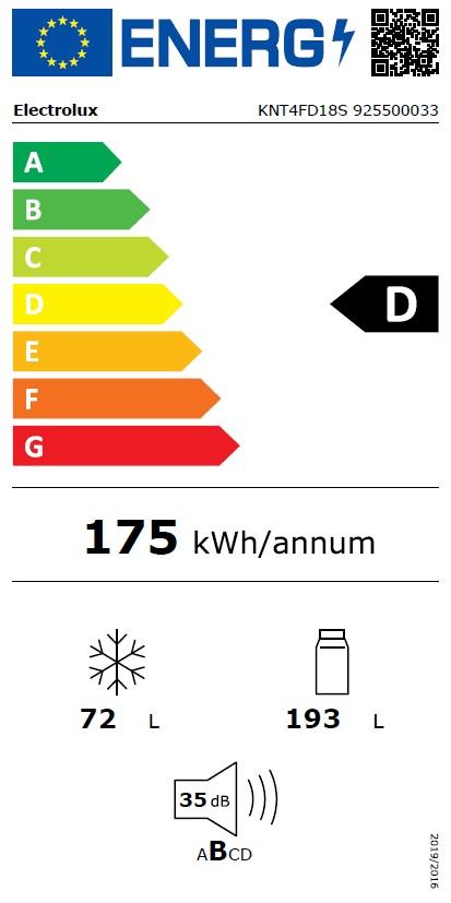 Obrázek galerie pro produkt Electrolux KNT4FD18S Vestavná chladnička kombinovaná s mrazákem dole 500 LowFrost