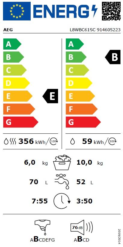 Obrázek galerie pro produkt AEG ÖKOMix L8WBC61SC Parní pračka se sušičkou s kapacitou 10/6kg, Antialergický program