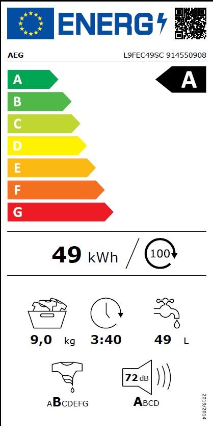 Obrázek galerie pro produkt AEG SoftWater L9FEC49SC Parní pračka s předním plněním 9kg, 1400ot/min