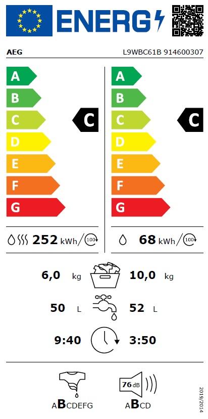 Obrázek galerie pro produkt AEG SensiDry L9WBC61B Pračka se sušičkou s kapacitou 10/6kg,1600ot/min